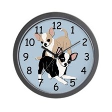 Chihuahuas Smooths at Play-Blue Wall Clock
