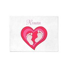 Baby Footprint Heart 5'x7'Area Rug