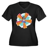 X-Ray Man Women's Plus Size V-Neck Dark T-Shirt