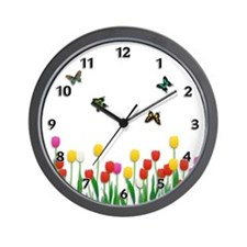 Tulip Flowers and Butterflies Wall Clock