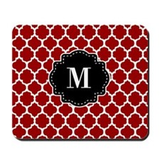 Red Black Quatrefoil Monogram Mousepad