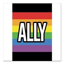 """Funny Ally Square Car Magnet 3"""" x 3"""""""