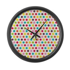 Colorful Polka Dots Pattern 3 Large Wall Clock