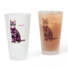 HipsterCat Drinking Glass
