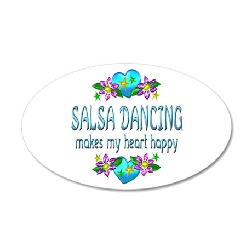 Salsa Heart Happy 35x21 Oval Wall Decal