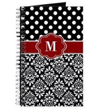 Red Black Damask Monogram Journal