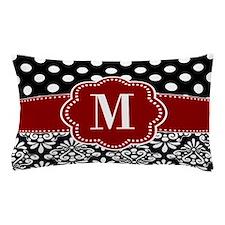 Red Black Dots Damask Monogram Pillow Case