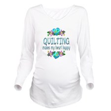 Quilting Heart Happy Long Sleeve Maternity T-Shirt