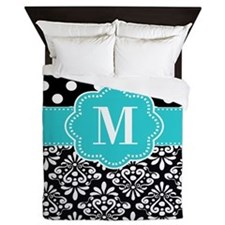 Teal Black Damask Dots Personalized Queen Duvet