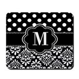 Black and white damask Mouse Pads