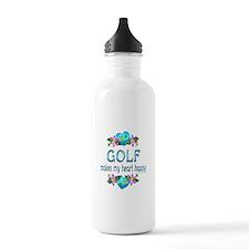 Golf Heart Happy Water Bottle