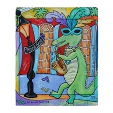 Mardi Gras Jazz Gator Throw Blanket