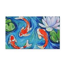 Koi Fish Pond Rectangle Car Magnet
