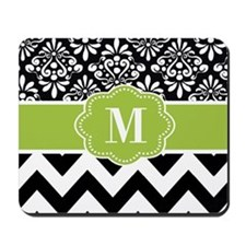 Green Black Damask Chevron Monogram Mousepad