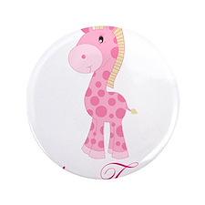 "Personalizable Pink Giraffe 3.5"" Button"