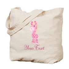 Personalizable Pink Giraffe Tote Bag