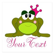 Personalizable Pink and Green Frog Invitations