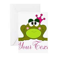 Personalizable Pink and Green Frog Greeting Cards