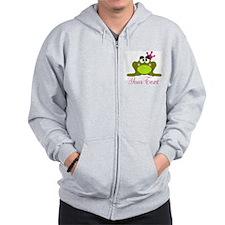 Personalizable Pink and Green Frog Zip Hoodie