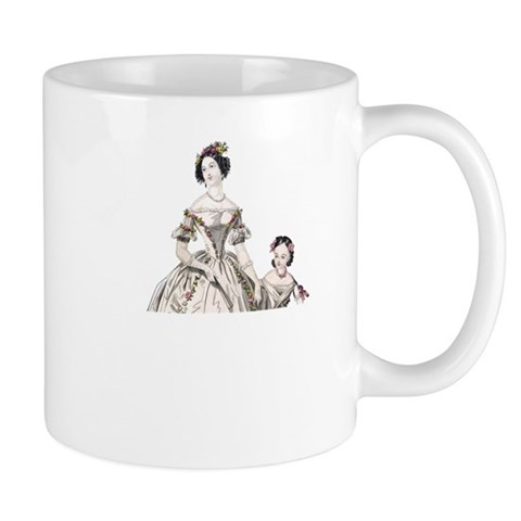 Vintage Antique Woman and Child Mugs