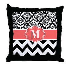 Black Coral Chevron Monogram Throw Pillow