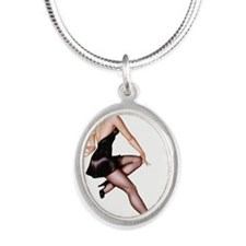 Little Black Dress Red Head Pin Up Girl Necklaces