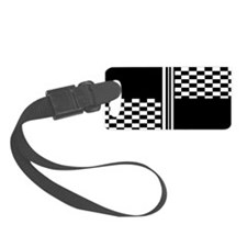 Black and white striped check Luggage Tag