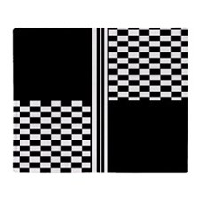 Black and white striped check Throw Blanket