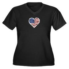 Vintage US Flag Heart Plus Size T-Shirt