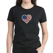 Vintage US Flag Heart T-Shirt