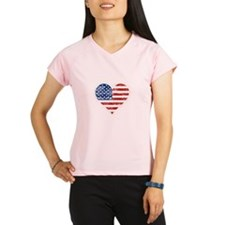 Vintage US Flag Heart Performance Dry T-Shirt