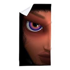 Mesmerizing Purple Eyes Girl Beach Towel