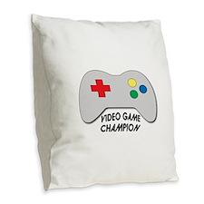 Video Game Champion Burlap Throw Pillow