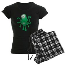 Cute green 6 armed Alien wit Pajamas