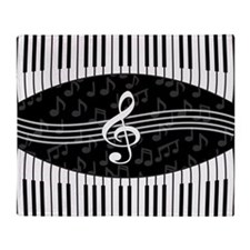 Stylish designer piano and music notes Throw Blank