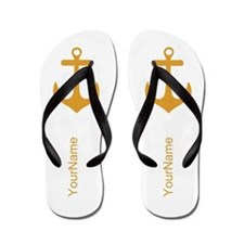 Yellow and White Anchors Flip Flops
