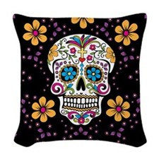 Sugar Skull BLACK Woven Throw Pillow