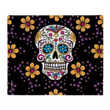 Sugar Skull BLACK Throw Blanket