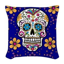 Sugar Skull ROYAL BLUE Woven Throw Pillow