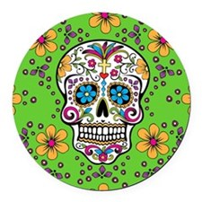 Sugar Skull GREEN Round Car Magnet