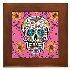 Sugar Skull PINK Framed Tile
