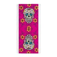 Sugar Skull BRIGHT PINK Beach Towel