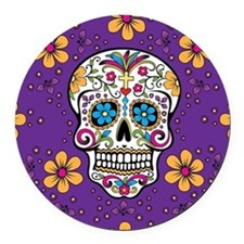 Sugar Skull PURPLE Round Car Magnet
