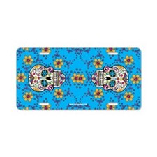 Sugar Skull TEAL Aluminum License Plate