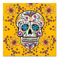 "Sugar Skull YELLOW Square Car Magnet 3"" x 3"""