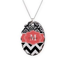 Black Coral Chevron Personalized Necklace
