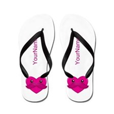 Kawaii Hearts Personalized Flip Flops