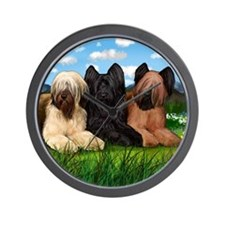 Briard Dogs Spring Mountains Wall Clock