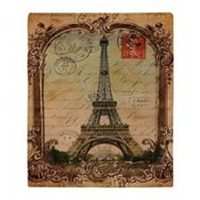 vintage scripts postage paris eiffel Throw Blanket
