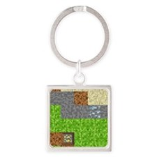 Pixel Art Play Mat Square Keychain